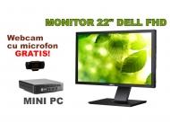 PC+ Monitor 22 INCH + Webcam - Hp EliteDesk 800 G1 TINY cu Dell P2211HT LED 22 inch Full HD