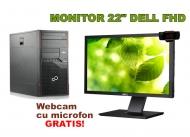 PC+ Monitor 22 INCH + Webcam - Fujitsu Esprimo P900 cu Dell P2211HT LED 22 inch Full HD